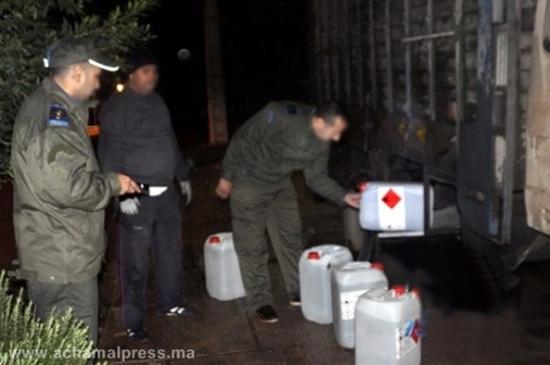 جمارك الناظور تحبط عملية تهريب كمية ضخمة من الكحول الصيدلانية