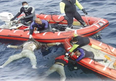 غرق مهاجرين وإغاثة خمسة آخرين في حادث جنوح قارب قبالة سواحل الفنيدق