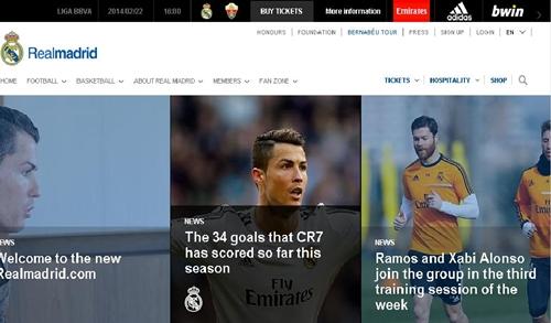 تصميم جديد لموقع ريال مدريد الإلكتروني بسبع لغات ليس بينهم العربية