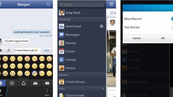 """شركة """"بلاك بيري"""" تحدث تطبيق """"فيسبوك"""" لمنصة """"بلاك بيري 10″"""