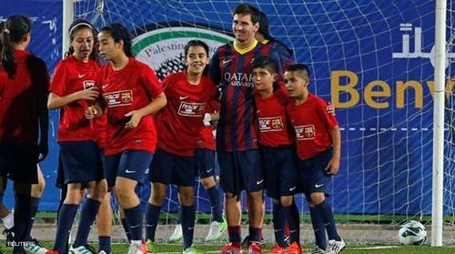 برشلونة يتضامن مع أطفال قرية كفر صور الفلسطينية