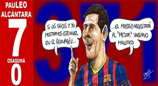 ميسي يحذر ريال مدريد وحكم الكلاسيكو في صورة كاريكاتيرية