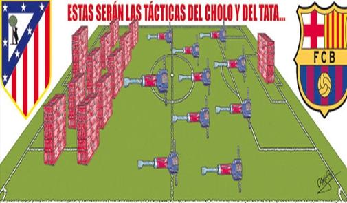 كاريكاتير: حفارات برشلونة تتحدى حوائط أتليتكو مدريد
