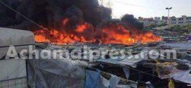 """اندلاع حريق مهول بسوق """"بئر الشيفا"""" في طنجة"""