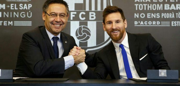 """ميسي"" يجدد رسميا تعاقده مع برشلونة بشرط جزائي خيالي"